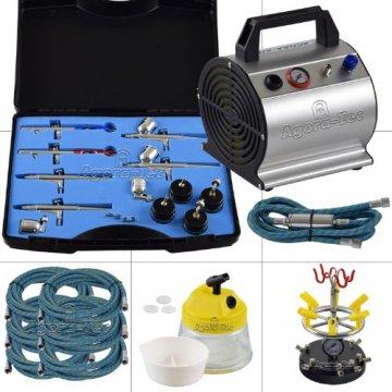 Agora-Tec® Airbrush Komplett-Set ADVANCED VI Komplettsystem für Airbrushanwendungen