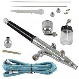 Agora-Tec® AT- Airbrush Pistole Kit AT-AK-02 mit 1,8 m Schlauch und 3 verschiedenen Düsen und Nadeln (0,2 mm 0,3mm 0,5 mm)